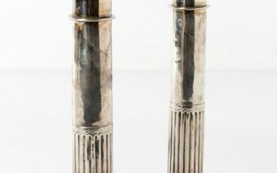 Pair of candlesticks in silver 19th century