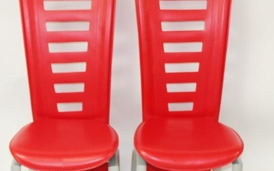 Pair of modern red ladder back side chairs
