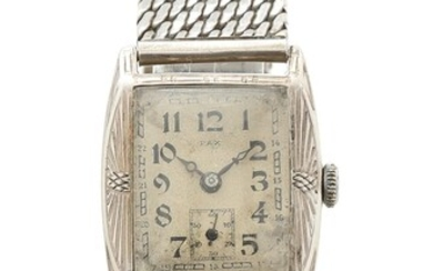 Pax: An Art Decó wristwatch of silver. Mechanical Tissot movement with manual winding. Case W. 26 mm. 1930s.