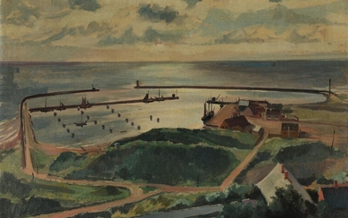 Poul Rytter: View over Anholt harbour. Signed Poul Rytter 1919. Oil on canvas. 75 x...