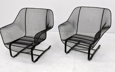 Pr RUSSELL WOODARD Spring Lounge Chairs. Woven mesh fra