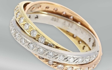Ring: modern and high-quality manufactured tricolor/brilliant gold ring,...