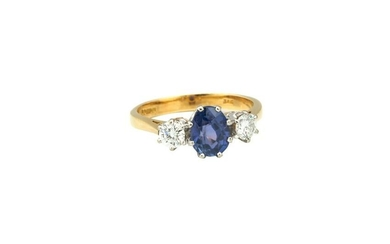 Ring with diamonds and sapphire, 2nd half of the 20th
