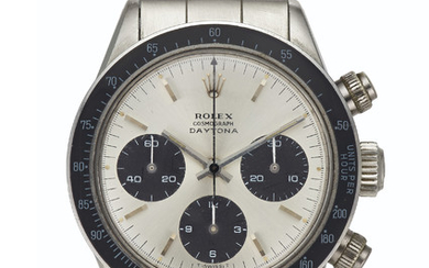 Rolex. A Fine and Very Rare Stainless Steel Chronograph Wristwatch with Bracelet, SIGNED ROLEX, COSMOGRAPH DAYTONA, REF. 6240, CASE NO. 1'438'918, CIRCA 1966