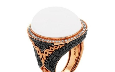 Rose Gold and White Black Diamond Ring with White Agate