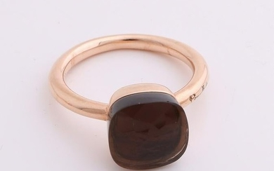 Rose gold ring, 585/000, with smoke quartz. Bolle ring