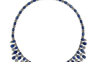SAPPHIRES AND DIAMONDS NECKLACE