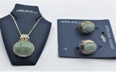 STERLING SILVER & JADE NECKLACE AND EARRING SET