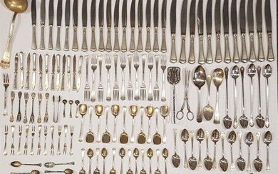 Set of Silver Utensils, 5 Kg. England late 19th century