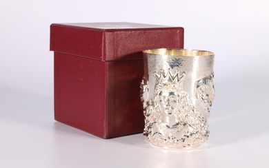 Silver beaker of good gauge with embossed Mercers'crest, swa...