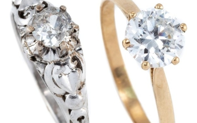TWO 9CT GOLD STONE SET RINGS; 1 in white gold set with an approx. 0.35ct round brilliant cut diamond (chipped girdle) size L1/2, oth...