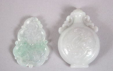 TWO CHINESE CARVED JADEITE TABLET / PENDANTS, one