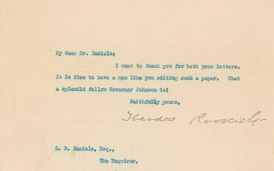 Theodore Roosevelt Typed Letter Signed