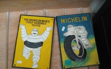 Two Cast Iron Michelin Tyres Advertising Wall Plagues - 30cm...