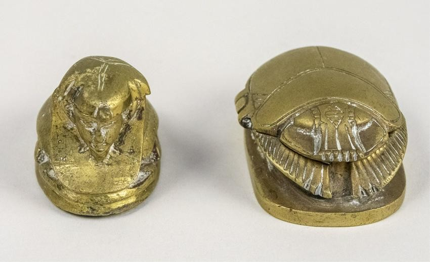 Two Egyptian Themed Brass Vessels