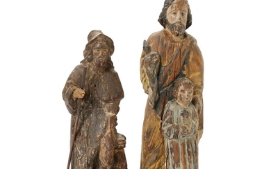 Two Filipino carved wood figures of saints, remains of paint. 19th (?) century. H. 27 and 32 cm. (2)
