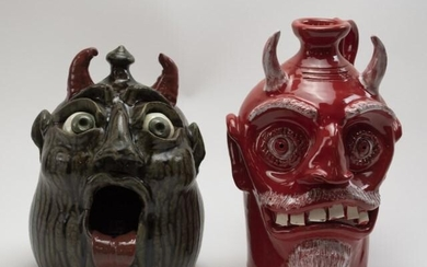 Two Georgia Stoneware Devil Jugs