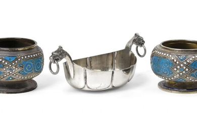Two Norwegian Silver and Enamel Salt-Cellars and A Norwegian Silver...