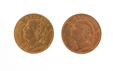 Two Swiss 10 franc gold coins Helvetia