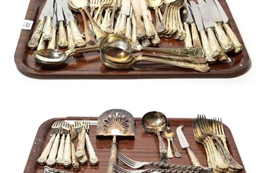 Two part-sets of silver plated cutlery including kings pattern