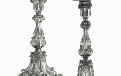 Two silver candle holders, Austria-Hungary, late 1800s