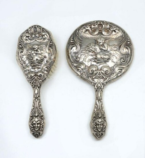 UNGER BROS. LOVE'S DREAM STERLING MIRROR AND BRUSH
