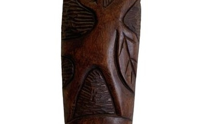 VINTAGE AFRICAN STYLE CARVED WOOD TRIBAL MASK 23""