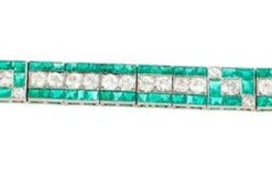 Van Cleef & Arpels platinum, emerald and diamond bracelet