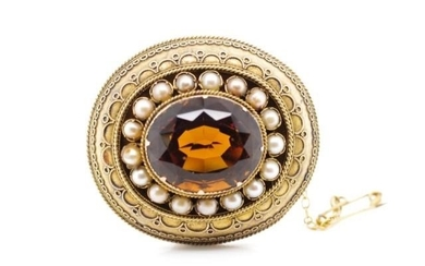 Victorian yellow gold Etruscan style brooch set with large r...