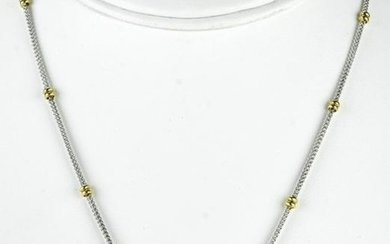 Vintage 14k White & Yellow Gold Butterfly Necklace