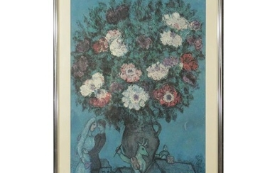 Vintage MARC CHAGALL Exhibition Poster Bouquet & Lovers