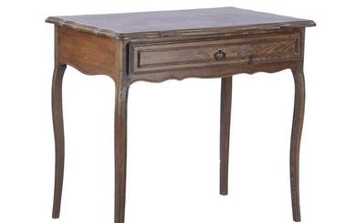 Walnut writing desk with drawer and top with brace edge