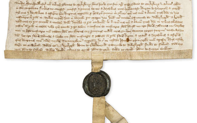 Wells, Somerset.- Charter, Thomas de Merkesbury [Marksbury] son of Thomas Merkesbury grants to Hugh de Somerton and Matill his wife a messuage in Wells, manuscript in Latin, on vellum, green wax seal with good impression, [c. 1320].