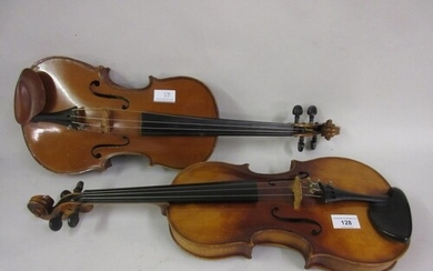 West German violin with two piece back (Stradivarius copy), ...