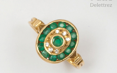 Yellow gold ring, set with an emerald in a double surround of brilliant-cut diamonds and emerald in a rail-set. Finger size: 53. P. Rough: 3.9g.