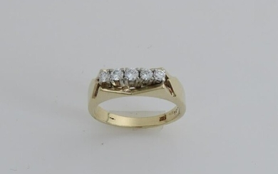 Yellow gold row ring, 585/000, with diamond.
