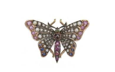14K Gold, Silver, Diamond, Pearl, and Gemset Butterfly