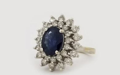 14K White Gold Sapphire & Diamond Star Burst Ring