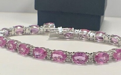 14ct White Gold Sapphire and Diamond bracelet featuring,...