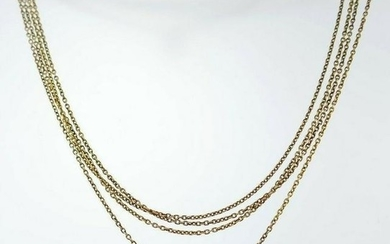14k YELLOW GOLD VICTORIAN WATCH CHAIN WITH MOTHER OF