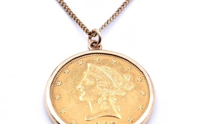 14k Yellow Gold Chain and $10 Liberty Coin Pendant