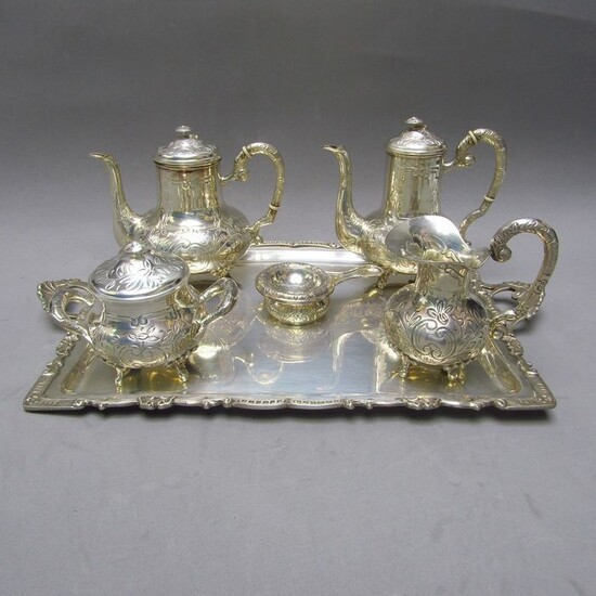 1.500 gr. - Coffee and tea service - Silver - First half 20th century