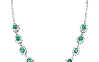 18 Karat White Gold 6.84ct Diamond and 11ct Emerald
