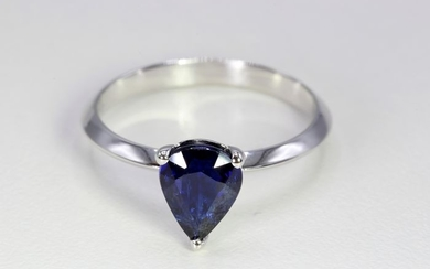 18 kt. White gold - Ring - 1.64 ct Sapphire