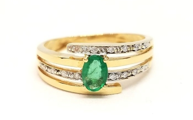 18 kts. Yellow gold - Ring Diamond - Emerald