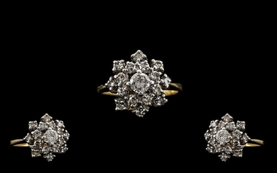 18ct Gold - Nice Quality and Attractive Diamond Set Cluster ...