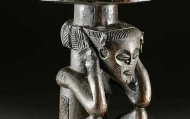 19th C. African Chokwe Wood Stool, ex-Sotheby's