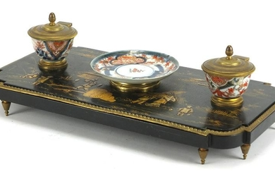 19th century French black lacquer and porcelain