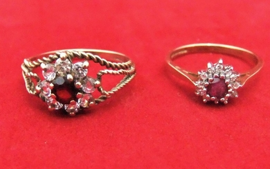 2, 9ct yellow gold ladies ruby ring surrounded by diamonds,...