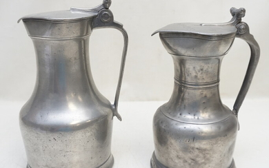 2 ANTIQUE 18th / 19th c PEWTER FLAGONS